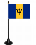 Barbados Desk / Table Flag with plastic stand and base.